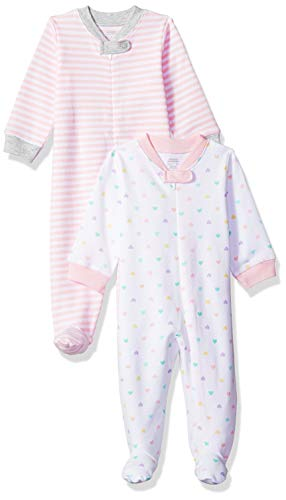 Amazon Essentials - Pack de 2 pijamas de niña para dormir y jugar, Girl Heart, Bebé prematuro