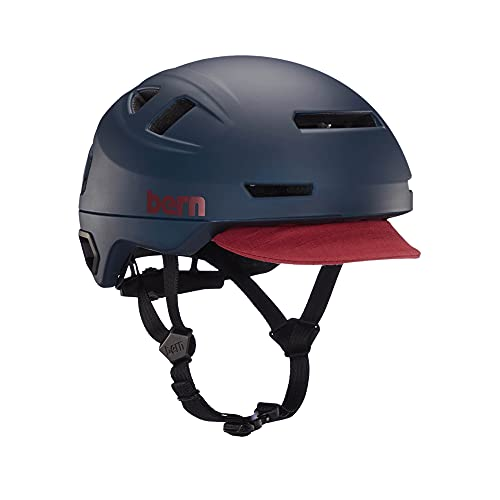 BERN, Hudson MIPS Bike Helmet with Integrated LED Rear Light and U-Lock Compatibility for Commuting, Matte Navy, Large