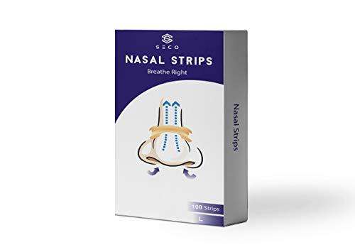 SECO |100 Stück Premium Nasenpflaster anti schnarch Nasenstrips in Größe L transparent (Large) gegen Schnarchen endlich wieder durchschlafen und besser atmen. Der Schnarchstopper von Seco