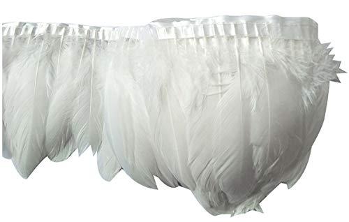 keland 2M Plume d'Oie Ruban De Toile à Coudre Craft DIY vêtement Danse Halloween (Blanc)