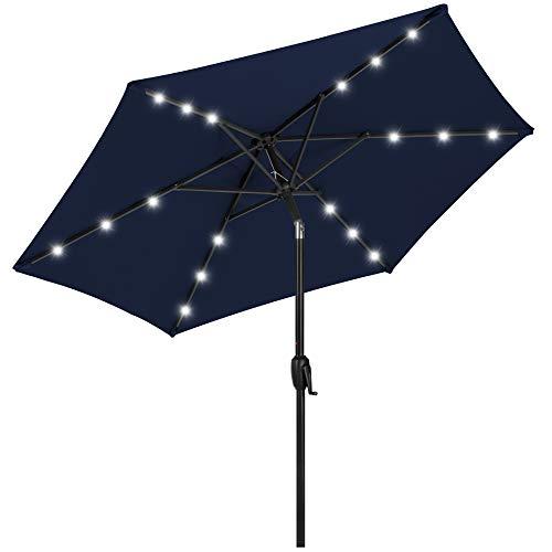 Best Choice Products 7.5ft Outdoor Solar Market Table Patio Umbrella for Deck, Pool w/Tilt, Crank, LED Lights - Navy Blue