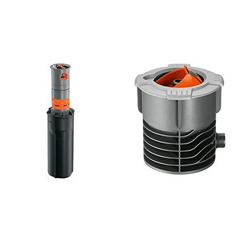 Gardena Sprinklersystem Turbinen Versenkregner T380 & Sprinklersystem Anschlussdose: Systemanfang von Pipeline und Sprinklersystem, mit 3/4 Zoll-Außengewinde Anschluss, versenkbarer Kugeldeckel