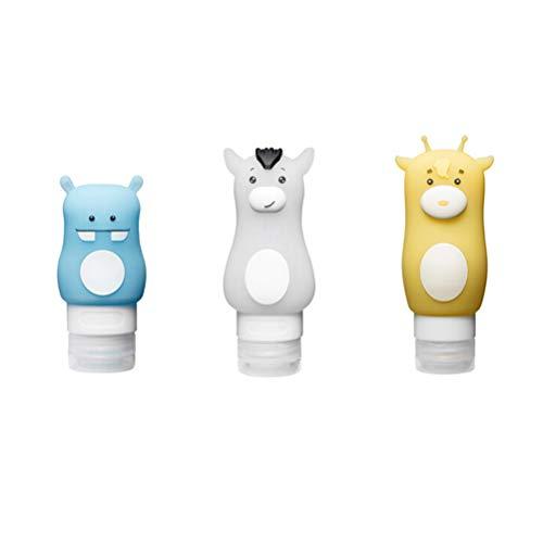 Lurrose 3pcs 90ml 70ml 50ml Bouteille de shampooing vide pour dessin animé