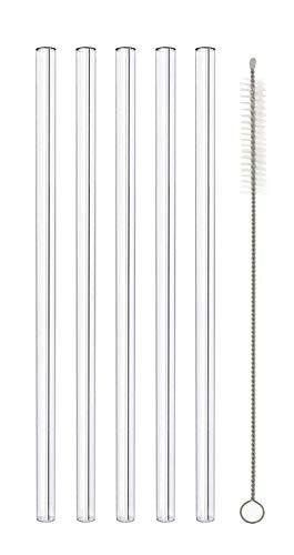 MIK Funshopping Pajitas de cristal – reutilizables, sostenibles, sin plástico – Pajitas de cristal con cepillo de limpieza transparente para el lavavajillas (5,20 cm recto)