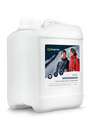simprax® Textil Imprägnierung - 2,5 Liter Kanister - Umweltfreundliches und leistungsstarkes Imprägniermittel für Outdoor- und Funktionstextilien - Gore-Tex, Sympatex, Softshell UVM.