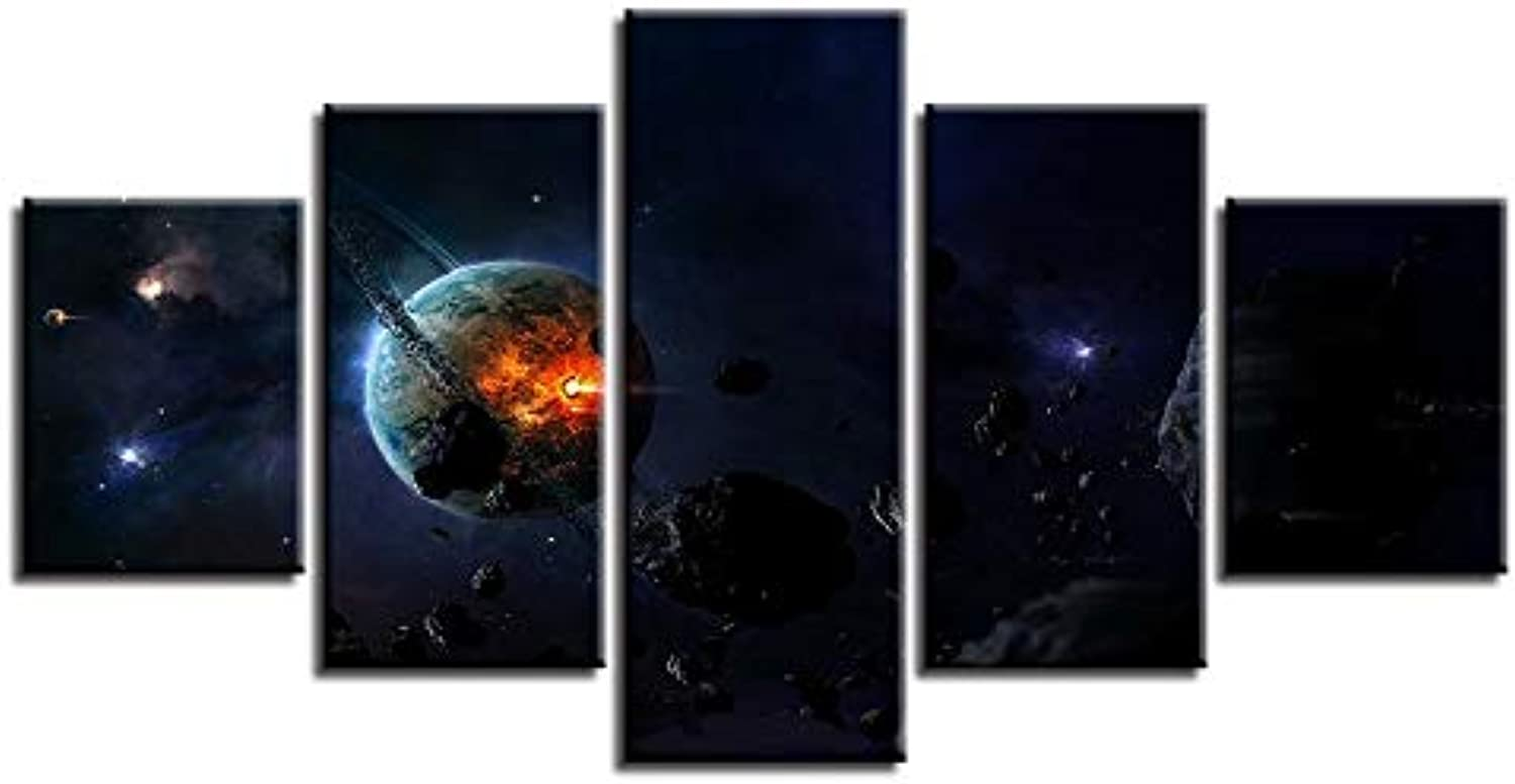 Framework Canvas Painting Wall Art Abstract Decorative Modular 5 Panel Flame Planet Pictures for Living Room Bedroom Prints