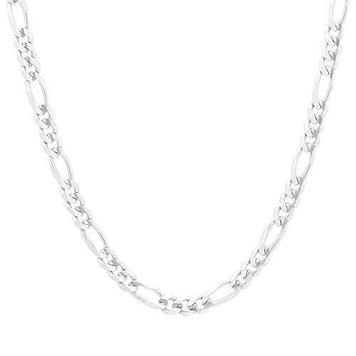 "NYC Sterling Unisex Italian Italian Heavy Link 5mm Figaro Chain in Solid Sterling Silver (26"")"