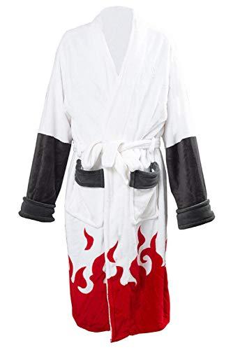 Karnestore Herren Naruto Namikaze Minato Akatsuki Kimono Bademantel Robe Fleece Winter Lounge Kragen Schal Pyjama Nachtwäsche