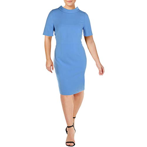 BASLER Damen Kleid mit Trichterausschnitt, Ellenbogen-Ärmel, Arbeitskleidung - Blau - 48