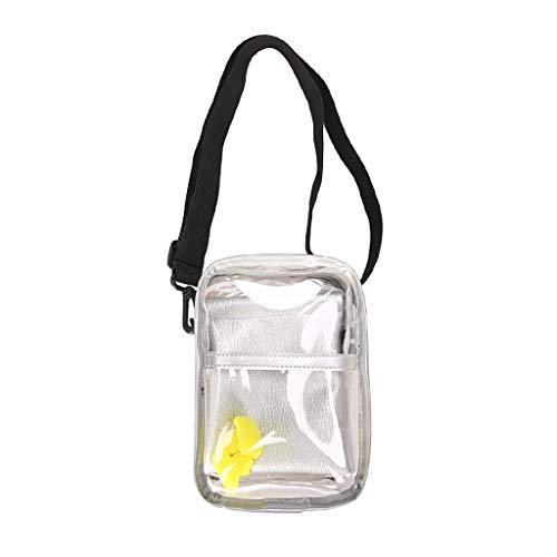 Yuwegr Damen Messenger Bag Casual Transparent Umhängetaschen Mode Tide Frauen Schultertaschen Wild Crossbody Tasche(Weiß)