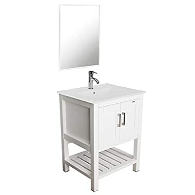 "eclife 24"" Bathroom Vanity Sink Combo with Overflow White Drop in Ceramic Sink Top & White MDF Modern Bathroom Cabinet & Chrome Solid Brass Faucet and Pop Up Drain W/Mirror (A08B07W)"