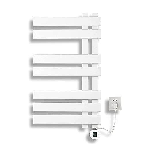 LHZHG Electric Towel Rail, Secatoallas Electrico Pared In Aleación de Aluminio, Heated Towel Rail Electric con FuncióN de Control de Temperatura, Apto para Todo Tipo de baños (Color : White)