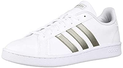adidas Women's Grand Court Tennis Shoe, White/Platino Metallic/White, 8.5 M US