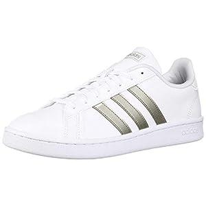 adidas womens Grand Court Sneaker, White/Platino Metallic/White, 6.5 US