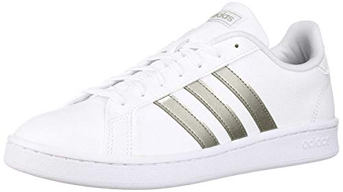 adidas Women's Grand Court Tennis Shoe, White/Platino Metallic/White, 7.5 M US