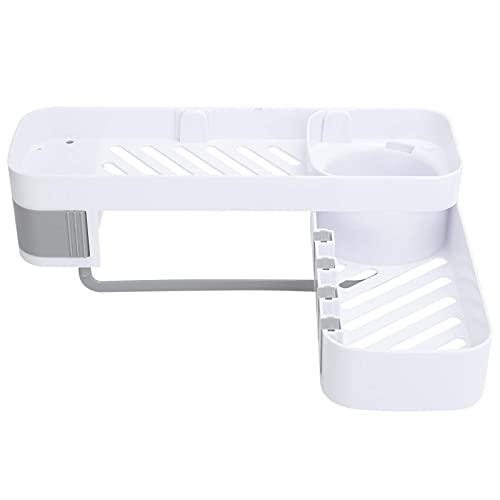 GaoF Estante de Ducha, Estante de Esquina para baño, diseño Tallado Hueco sin taladrar con Gancho para Toallas para baño y Cocina (Blanco Gris)
