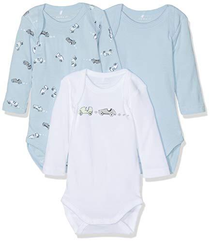 NAME IT NAME IT Baby-Jungen Strampler NBMBODY 3P LS NOOS, 3er Pack, Mehrfarbig (Blau Cashmere Blue), 74