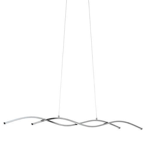 EGLO LED Pendellampe Lasana 2, 2 flammige Pendelleuchte, Hängeleuchte aus Alu, Stahl, Kunststoff, Farbe: chrom, weiß, L: 120 cm