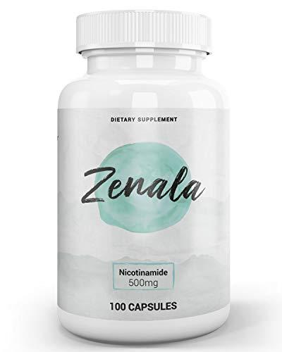 Vitamin B3 Nicotinamide 500 mg 100 Capsules, Natural Flush-Free, Vitamin Formula Kit, NMN Supplement, NAD Booster, Riboside, Skin Healthy Cell Repair Support - Zenala
