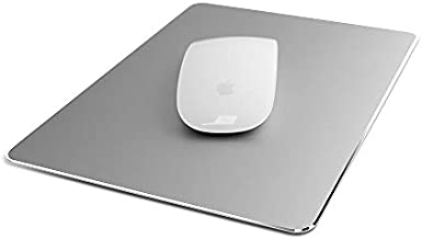 Metal Aluminum Mouse Pad Hard Mat Smooth Magic Ultra Thin Double Side Mouse Mat Waterproof Fast and Accurate Control for Gaming and Office(Small Gray 9.05X7.08 Inch)