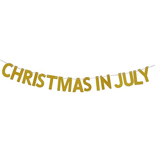 MAGQOO Gold Glitter Christmas in July Bunting Banner Chistmas Party Decorations