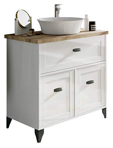 Pitarch Mueble baño Vintage Cottage Color Blanco Alto Brillo y Cambrian con Lavabo encimera cerámico 82x47 Sin Espejo