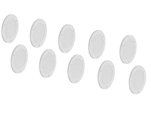 Gedotec H3609 Ventilatierooster met geperforeerde deurventilatie, rond, meubelrooster 20 Stück Kunststoff Weiß