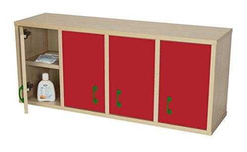 Casillero Mobeduc 600711HS10-Mobile con 8 caselle con porta, in legno, colore: rosso ciliegia/faggio, 100 x 28 x 42 cm