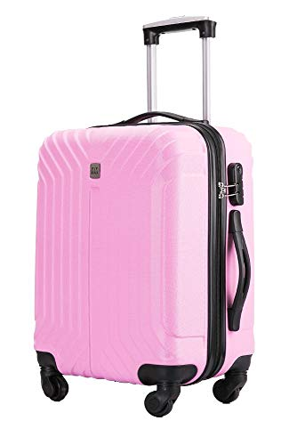 Flymax Cabin Luggage 4 Wheel Suitcase Lightweight Carry on 55x40x20 Approved for Ryanair Easyjet British Airways Pink