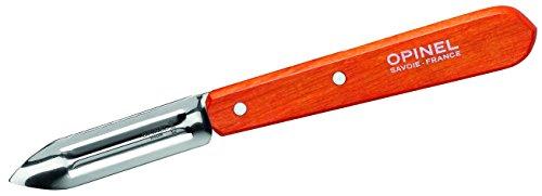 Opinel  Schälmesser No. 115, rostfreier Sandvik-Stahl, für Rechts-und Linkshänder, orangefarbener Buchenholzgriff Kochmesser