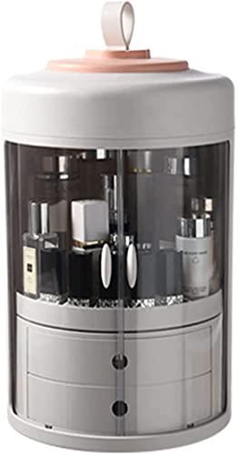 Caja de almacenamiento de cosméticos giratoria de 360 ° Caja de almacenamiento de joyas a prueba de polvo Caja de almacenamiento de cosméticos transparente portátil Caja de almacenamiento de cosmé