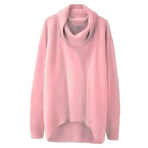 Jersey Suéter Sweater Moda Mujer Sólido Cuello Alto Dobladillo Irregular Manga Larga Suéter Suelto Casual Cálido Básico Suéter De Cuello Alto Jerseys De Punto Top 3XL Rosa