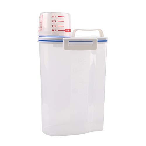 Gelentea - Dispensador de Cereales de plástico (2 L, dispensador de Alimentos de Cocina, contenedor de arroz, Polipropileno, Multifuncional, sin BPA)