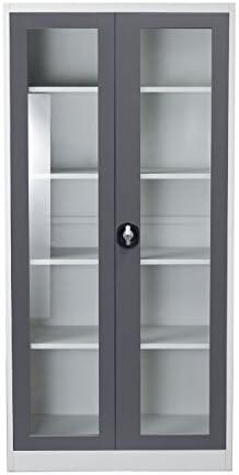 Best Diamond Sofa 2-Door 5 Shelf Bookcase with Tempered Glass Door Front and Key Lock Entry