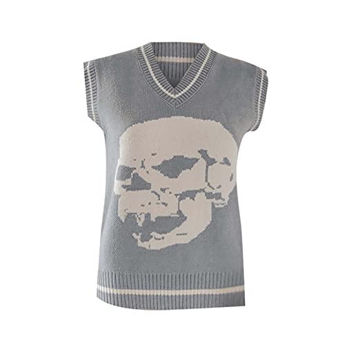 Sudadera sexy para mujer con cuello en V, diseño de calavera, de lana de punto, camiseta de otoño, sin...
