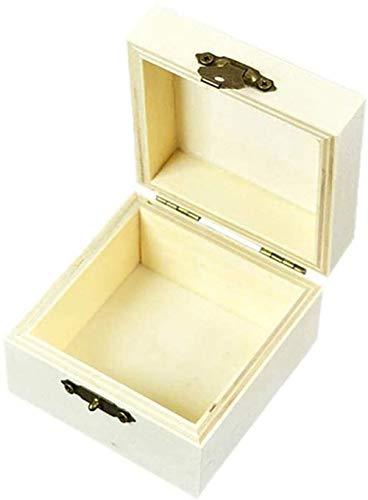 Xicaimen Caja de Madera para Anillos, Caja dejoyería Cuadrada,Caja de Almacenamiento, Cofre del Tesoro, Caja de joyería con Tapa Curva y Cierre de Metal