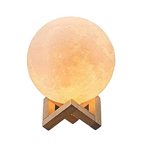 Lámpara de luna LED 3D 20cm 16 Colores RGB Regulable LED Lunar Luz Control Remoto y Táctil Recargable USB con Adaptader de Corriente Lámpara Nocturna Decorativa para Dormitorio Fiesta Regalo