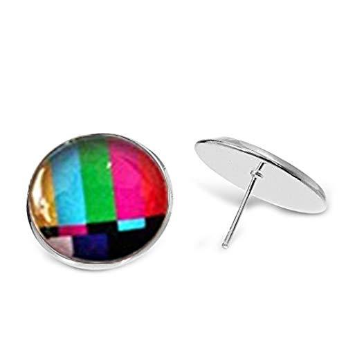 heng yuan tian cheng TV Test Pendientes, Divertidos Pendientes, Color Pendientes, Geek Jewelry, Regalo para Ella, Decoración de Cristal, Hecho a Mano