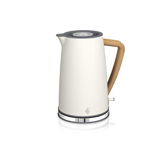 Swan Nordic Ultra Schneller elektrischer Wasserkocher, kabellos, modernes Design, 1,7 l, 2200 W, Griff in Holzoptik, automatische Abschaltung, Weiß