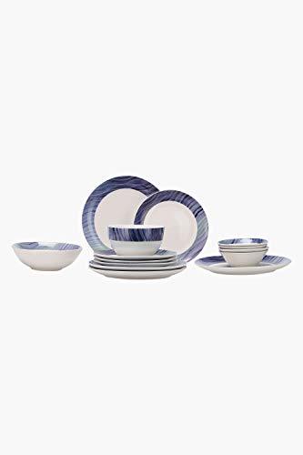 Ivy Aqua Waves Round Colour Block Porcelain Dinner Set of 14 Pieces (Blue)