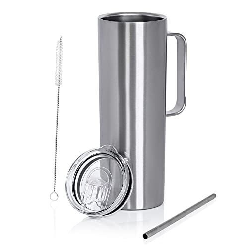 Maxam Double Wall Vacuum Insulated Skinny Tumbler with Handle - Tall & Slim Stainless Steel Drink...
