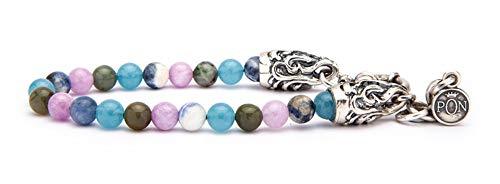 PORTONOVO Pulsera de un solo giro para mujer, serie clásica con piedras de 6 mm, estilo Tiffany, camuflaje y rosa con plata fundida BRA 04_354