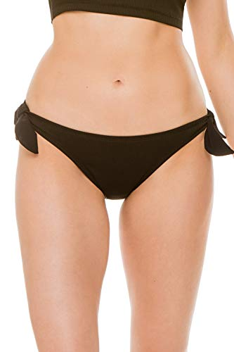 EBW Women's Collection Ribbed Faux Tie Hipster Bikini Bottom Black S