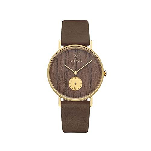 Kerbholz Frida Walnut Tobacco - Reloj de madera para mujer con correa de piel auténtica