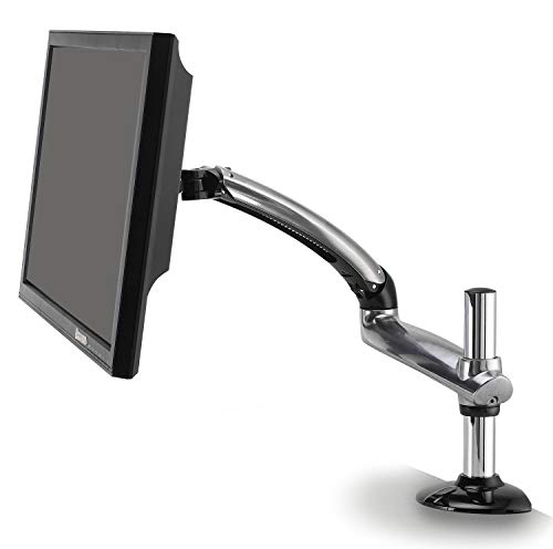 Ergotech Single Freedom Arm | Includes Single Aluminum Articulating Arm | 8.4-17.8 lbs. Weight Capacity | Suitable for Monitors up to 27 inches | VESA Compatible 75×75, 100×100 | Silver