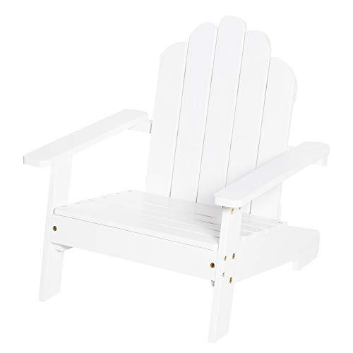 Outsunny Adirondack-Gartenstuhl Kinder Gartenliege Balkonstuhl Lounge Stuhl für 1-4 Jahre aus Holz Gartenmöbel Weiß 51 x 50 x 52,5 cm