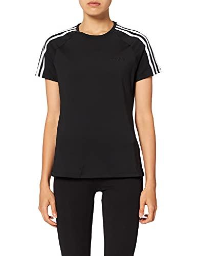 adidas W D2M 3S tee Camiseta de Manga Corta, Mujer, Black/White, XS