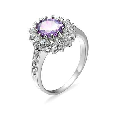 Bishilin Alianza de Eternidad Plateada para Mujer Púrpura Ajuste Cómodo Flores Anillo de Promesa de Aniversario con Púrpura Redonda Circonita Tamaño:22