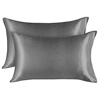 EXQ Home Silky Satin Pillowcase for Hair and Skin,Soft Grey Pillow Cases Queen Size Set of 2 Silk Pillow Cases for Women with Envelope Closure   20x30 inches