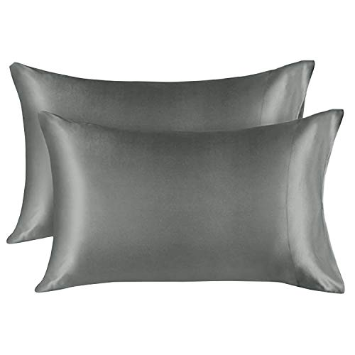 EXQ Home Silky Satin Pillowcase for Hair and Skin,Soft Grey Pillow Cases Queen Size Set of 2 Silk Pillow Cases for Women with Envelope Closure ( 20x30 inches)